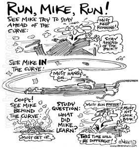 See Mike try to stay ahead of the curve... Run Mike run!