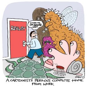 A cartoonist's perilous commute home from work