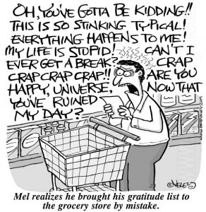 Mel realizes he brought his gratitude to the grocery store by mistake.
